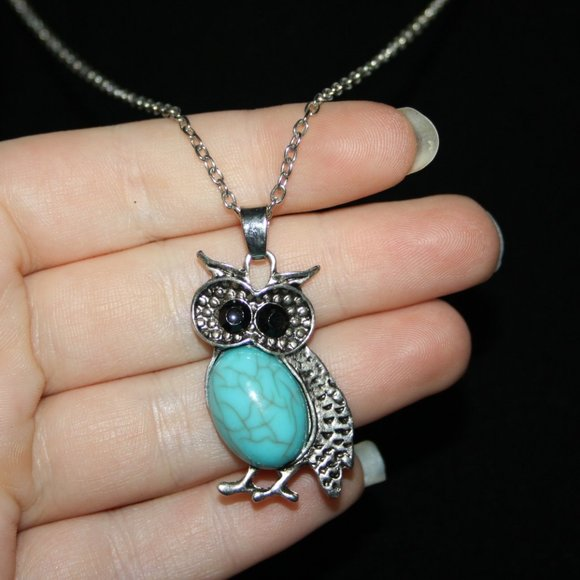 Silver and turquoise owl necklace 20""